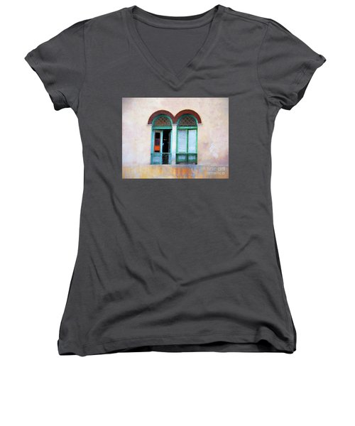 Women's V-Neck T-Shirt (Junior Cut) featuring the mixed media Man In The Shadows by Jim  Hatch