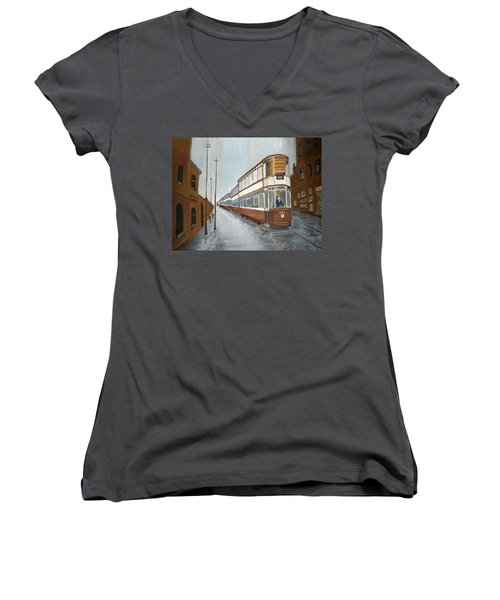 Manchester Piccadilly Tram Women's V-Neck (Athletic Fit)