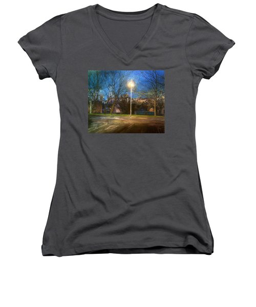 Manchester Street With Light And Trees Women's V-Neck (Athletic Fit)