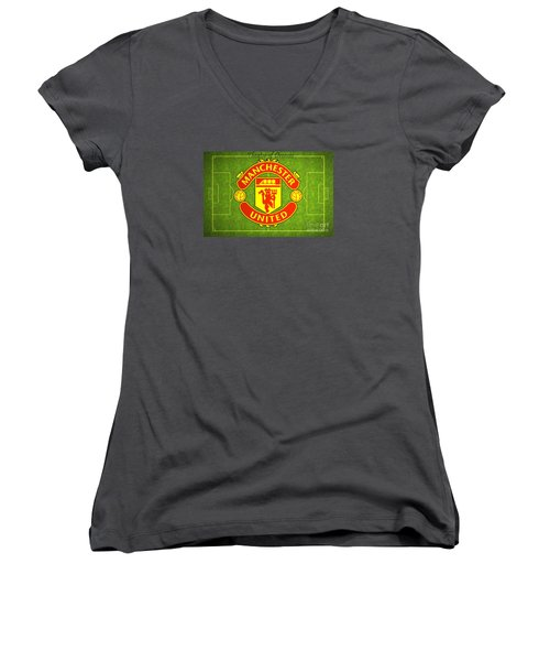 Manchester United Theater Of Dreams Large Canvas Art, Canvas Print, Large Art, Large Wall Decor Women's V-Neck T-Shirt (Junior Cut) by David Millenheft