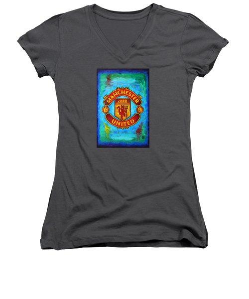 Manchester United Vintage Women's V-Neck T-Shirt (Junior Cut) by Dan Haraga