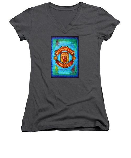 Manchester United Vintage Women's V-Neck (Athletic Fit)