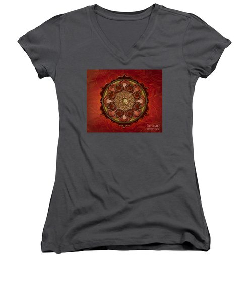Mandala Flames Sp Women's V-Neck (Athletic Fit)