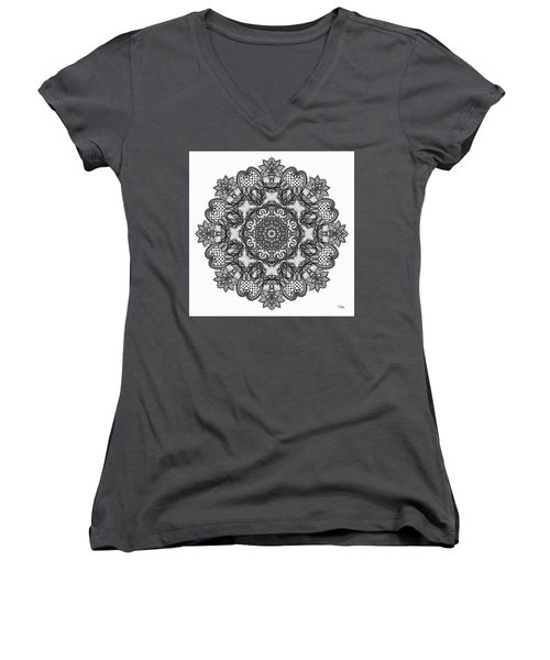 Mandala To Color 2 Women's V-Neck T-Shirt (Junior Cut) by Mo T