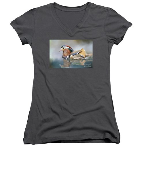 Mandarin Duck Swimming Women's V-Neck