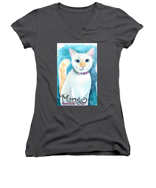 Mango - Flame Point Siamese Cat Painting Women's V-Neck (Athletic Fit)