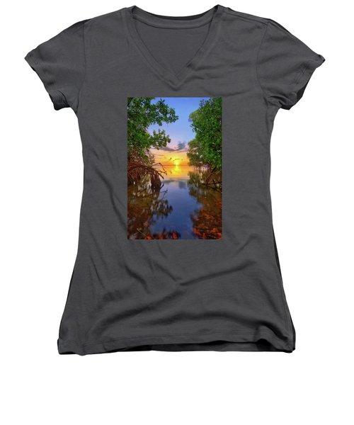 Mangrove Sunset From Jensen Beach Florida Women's V-Neck T-Shirt (Junior Cut) by Justin Kelefas