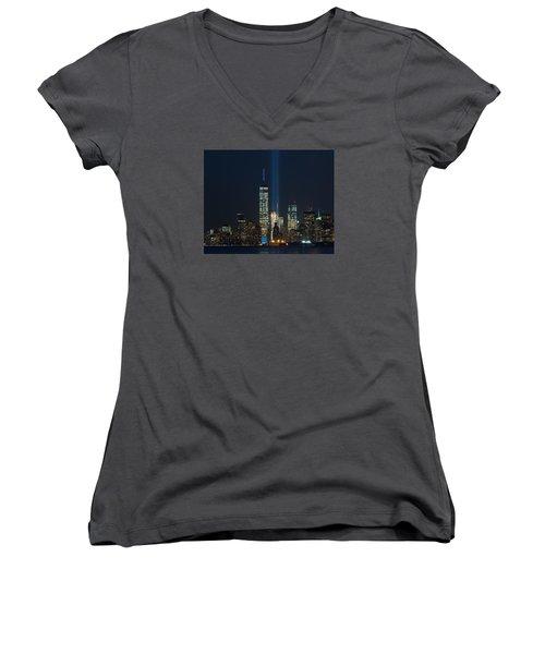 Manhattan 9.11.2015 Women's V-Neck T-Shirt (Junior Cut) by Kenneth Cole