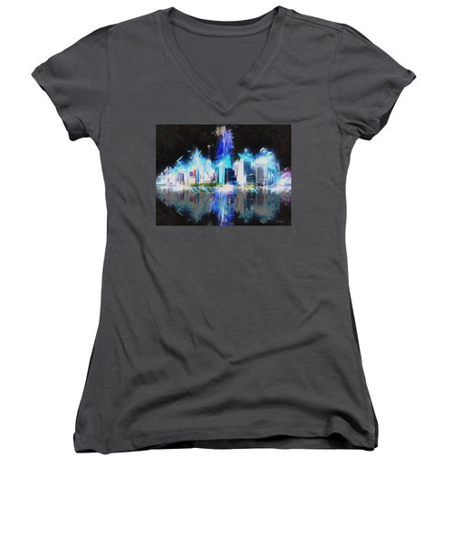 Women's V-Neck T-Shirt (Junior Cut) featuring the painting Manhattan Downtown Lights by Kai Saarto