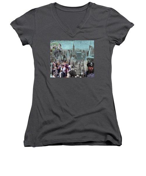 Manhattan Women's V-Neck T-Shirt (Junior Cut) by Judi Saunders