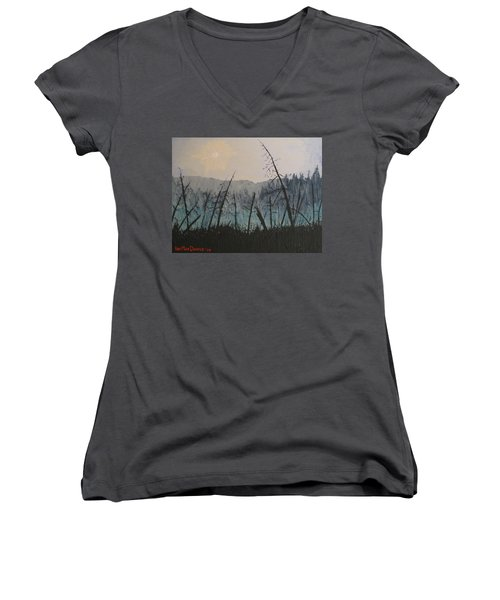 Women's V-Neck T-Shirt (Junior Cut) featuring the painting Manitoulin Beaver Meadow by Ian  MacDonald