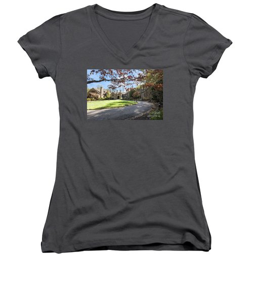 Mansion At Ridley Creek Women's V-Neck T-Shirt (Junior Cut) by Judy Wolinsky