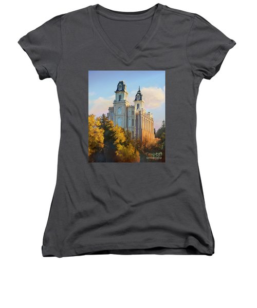 Manti Temple Tall Women's V-Neck T-Shirt (Junior Cut) by Rob Corsetti