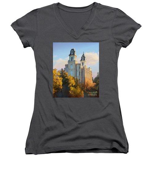 Manti Temple Tall Women's V-Neck T-Shirt