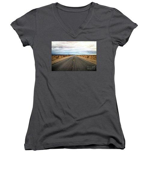 Many Miles Through Mojave Desert Women's V-Neck (Athletic Fit)