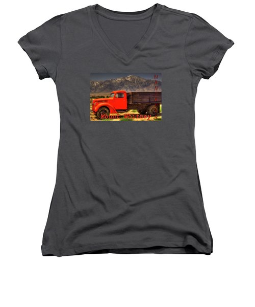 Manzanar Food Delivery Truck And Mt. Whitney Women's V-Neck