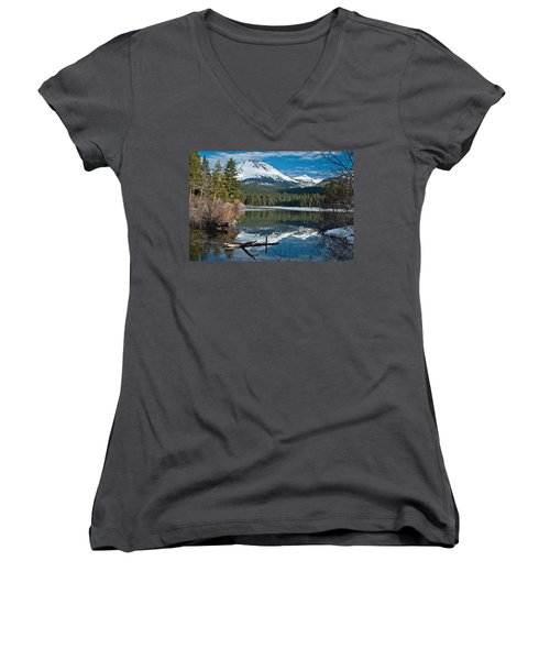 Manzanita Lake Reflects On Mount Lassen Women's V-Neck (Athletic Fit)