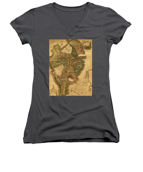 Map Of Boston 1814 Women's V-Neck T-Shirt (Junior Cut) by Andrew Fare