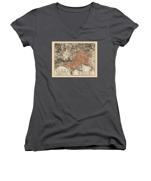 Map Of Naples 1860 Women's V-Neck T-Shirt (Junior Cut) by Andrew Fare
