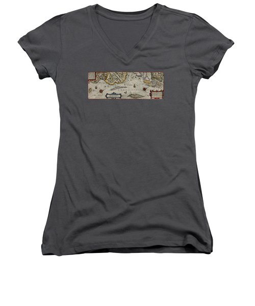 Map Of Sweden 1606 Women's V-Neck T-Shirt (Junior Cut) by Andrew Fare