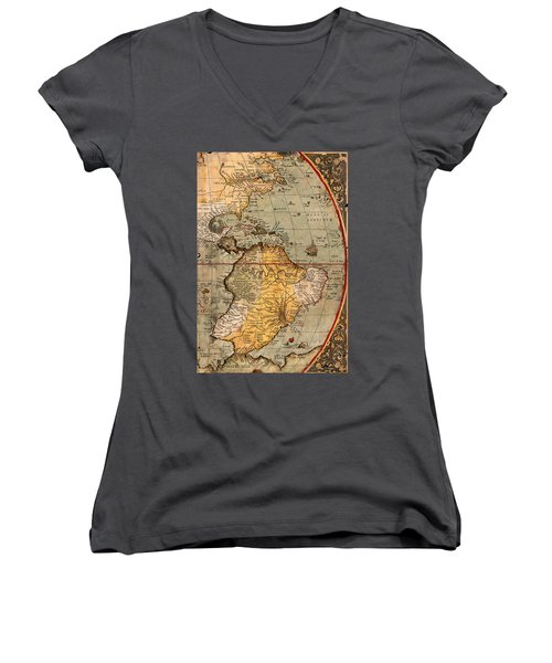 Map Of The Americas 1570 Women's V-Neck T-Shirt (Junior Cut) by Andrew Fare