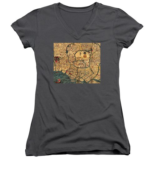 Map Of Tokyo 1845 Women's V-Neck T-Shirt (Junior Cut) by Andrew Fare