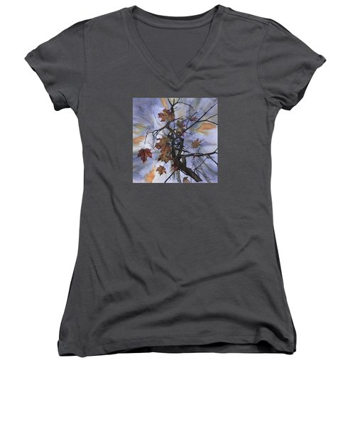 Maple Autumn Splash Women's V-Neck (Athletic Fit)