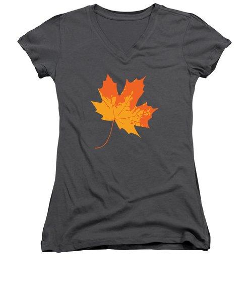 Women's V-Neck featuring the digital art Maple Leaf by Jennifer Hotai