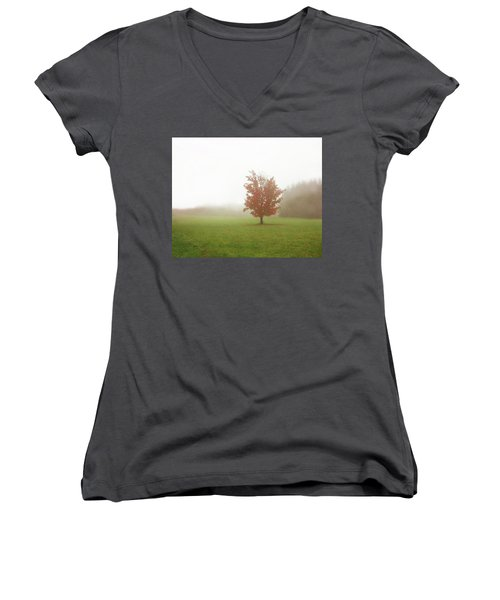 Women's V-Neck T-Shirt (Junior Cut) featuring the photograph Maple Tree In Fog With Fall Colors  by Brooke T Ryan