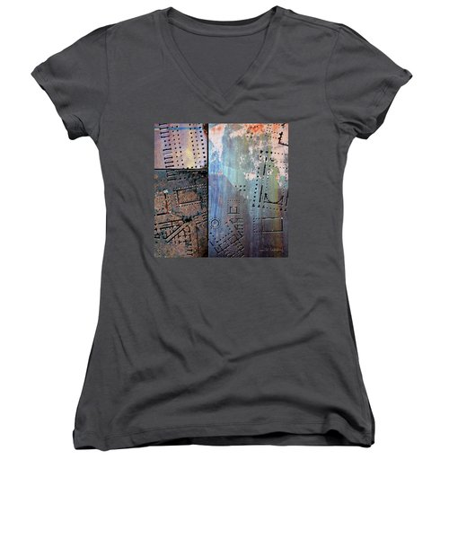 Maps #9 Women's V-Neck T-Shirt (Junior Cut) by Joan Ladendorf