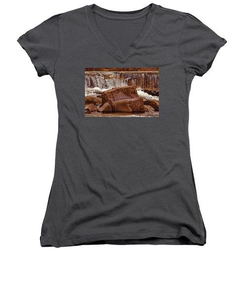 Marble Creek Shut-ins Women's V-Neck T-Shirt (Junior Cut) by Robert Charity
