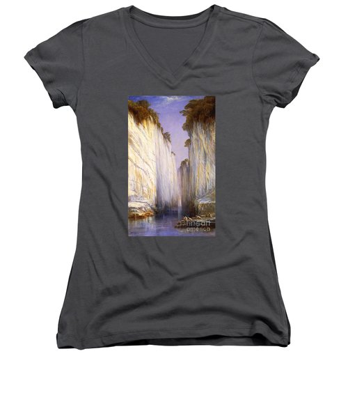 Women's V-Neck T-Shirt (Junior Cut) featuring the painting Marble Rocks - Nerbudda Jubbulpore by Pg Reproductions