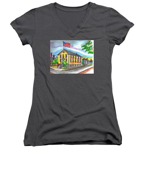 Marblehead Icon Women's V-Neck T-Shirt (Junior Cut) by Paul Meinerth