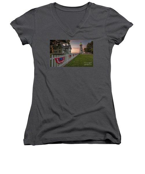 Marblehead Memorial  Women's V-Neck T-Shirt (Junior Cut) by James Dean