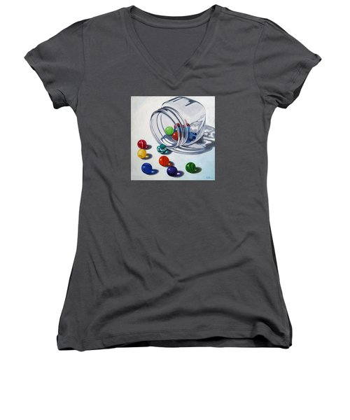 Marbles And Glass Jar Still Life Painting Women's V-Neck T-Shirt (Junior Cut) by Linda Apple