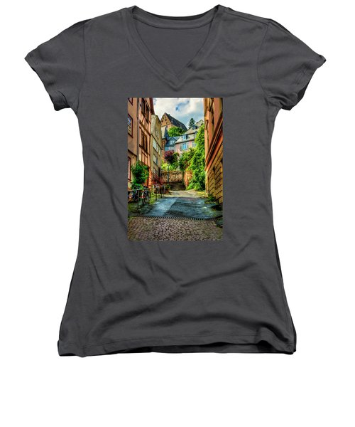 Women's V-Neck T-Shirt (Junior Cut) featuring the photograph Marburg Alley by David Morefield