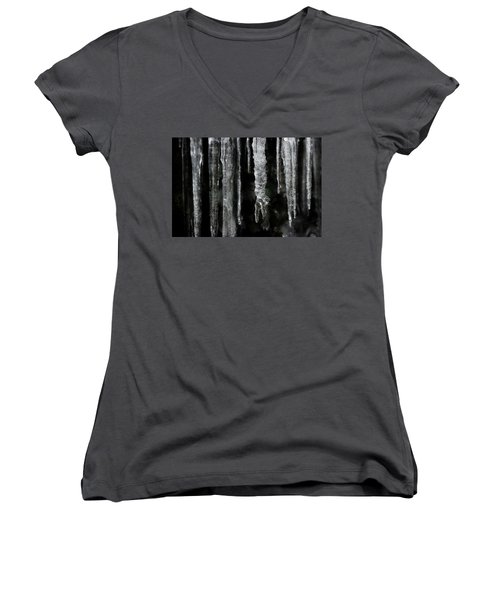 Women's V-Neck T-Shirt (Junior Cut) featuring the photograph March Icicles by Mike Eingle