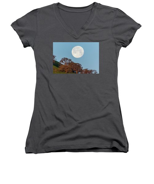 Women's V-Neck T-Shirt (Junior Cut) featuring the photograph March Moonset by Marc Crumpler
