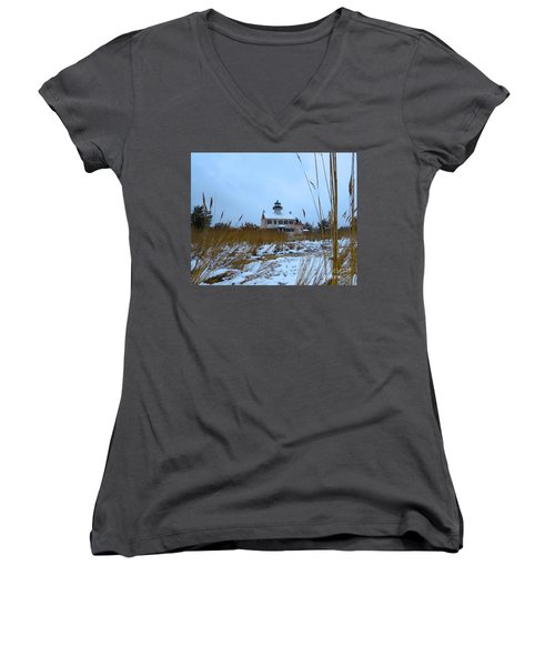 March Snow At East Point Lighthouse Women's V-Neck T-Shirt (Junior Cut) by Nancy Patterson