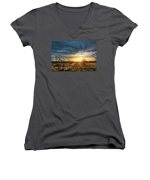 Women's V-Neck featuring the photograph March Sunrise by Lynn Geoffroy