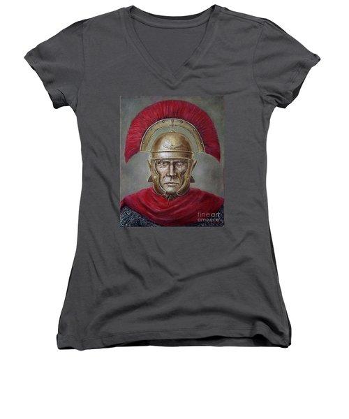 Marcus Cassius Scaeva Women's V-Neck T-Shirt (Junior Cut) by Arturas Slapsys