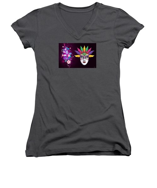 Women's V-Neck T-Shirt (Junior Cut) featuring the photograph Mardi Gras Mask On Floral Background by Gary Crockett