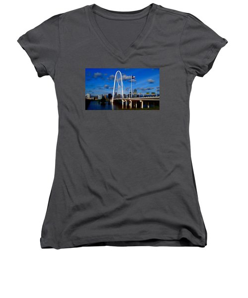Women's V-Neck T-Shirt (Junior Cut) featuring the photograph Margaret Hunt Hill Bridge Dallas Flood by Kathy Churchman