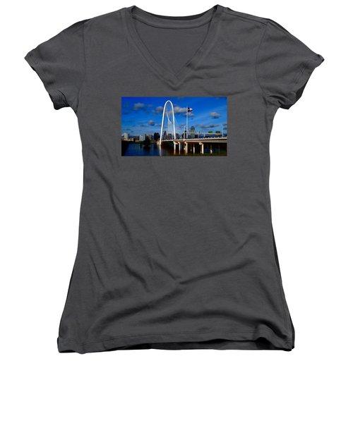 Margaret Hunt Hill Bridge Dallas Flood Women's V-Neck T-Shirt (Junior Cut) by Kathy Churchman