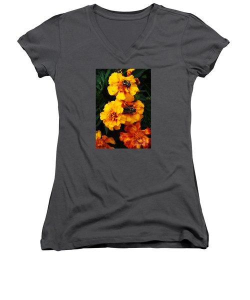 Women's V-Neck T-Shirt (Junior Cut) featuring the photograph Marigold Cluster by J L Zarek