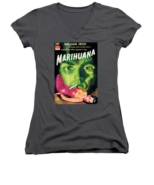 Women's V-Neck T-Shirt (Junior Cut) featuring the painting Marihuana by Bill Fleming