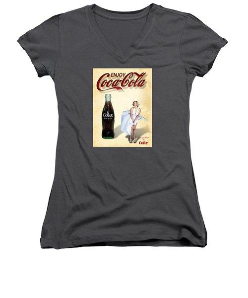Marilyn Coca Cola Girl 3 Women's V-Neck
