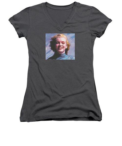 Marilyn Women's V-Neck T-Shirt (Junior Cut) by David Klaboe
