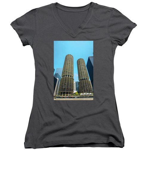 Women's V-Neck T-Shirt (Junior Cut) featuring the photograph Marina City Chicago by Deborah Smolinske