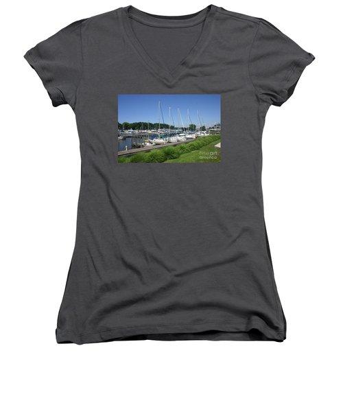 Marina On Black River Women's V-Neck T-Shirt (Junior Cut)
